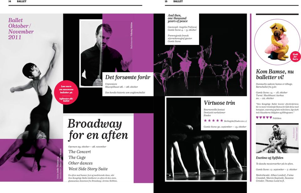 oktober Den kendte historie som ungdomsballet Broadway for en aften Virtuose trin Bournonville fantasi Donizetti variationer Etudes Berlingske(Etudes 2011) Gamle Scene 30. september 15.
