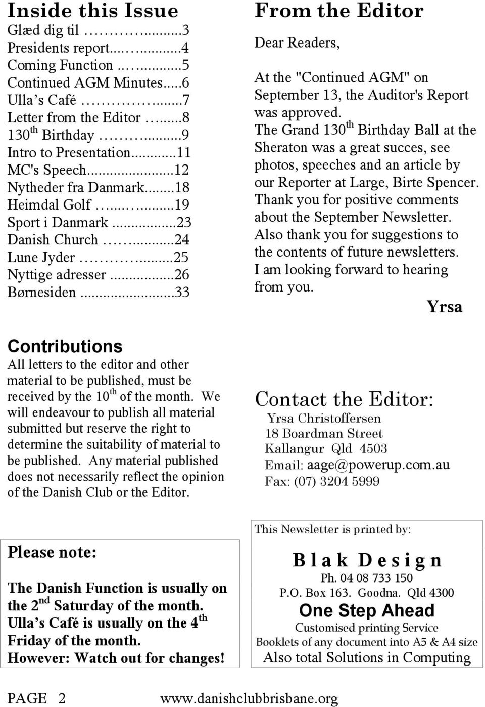 ..33 Contributions All letters to the editor and other material to be published, must be received by the 10 th of the month.
