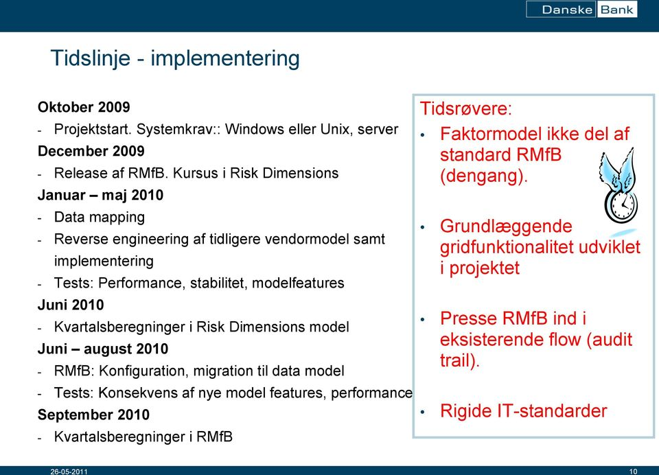 2010 - Kvartalsberegninger i Risk Dimensions model Juni august 2010 - RMfB: Konfiguration, migration til data model - Tests: Konsekvens af nye model features, performance