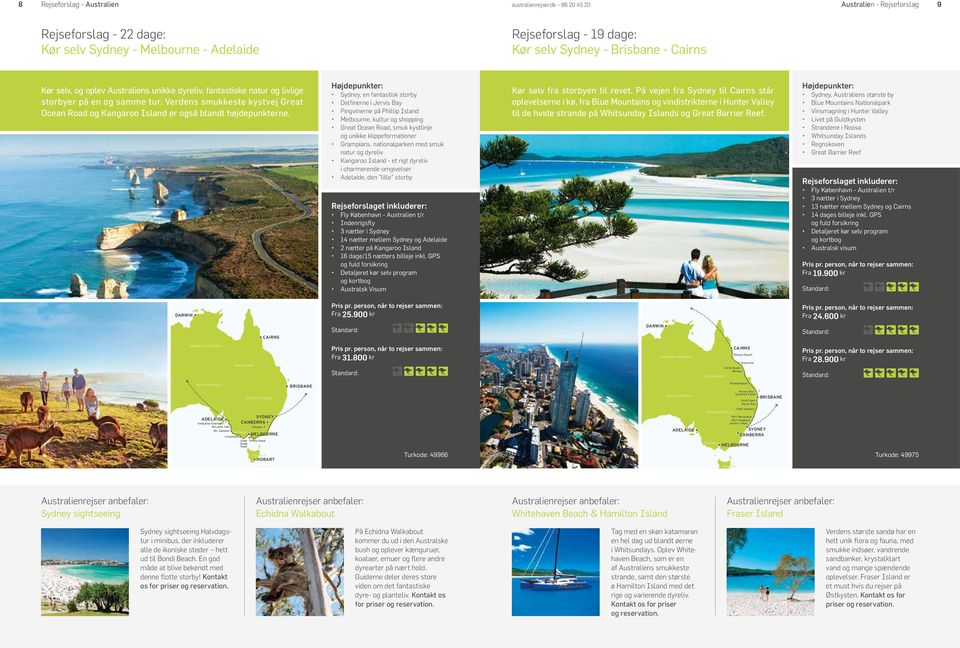 Sydney, en fantastisk storby Delfinerne i Jervis Bay Pingvinerne på Phillip Island Melbourne, kultur og shopping Great Ocean Road, smuk kystlinje og unikke klippeformationer Grampians, nationalparken