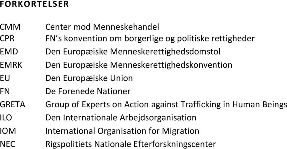 Europæiske Union De Forenede Nationer Group of Experts on Action against Trafficking in Human Beings Den