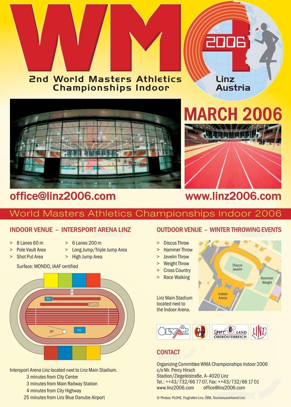com World Masters Athletics Championships Indoor 2006 INDOOR VENUE INTERSPORT ARENA LINZ OUTDOOR VENUE WINTER THROWING EVENTS > 8 Lanes 60 m > 6 Lanes 200 m > Pole Vault Area > Long Jump/Triple Jump