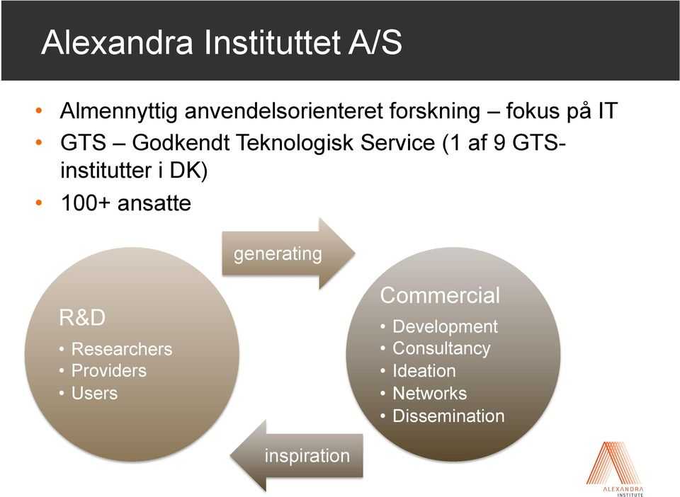 i DK) 100+ ansatte generating R&D Researchers Providers Users
