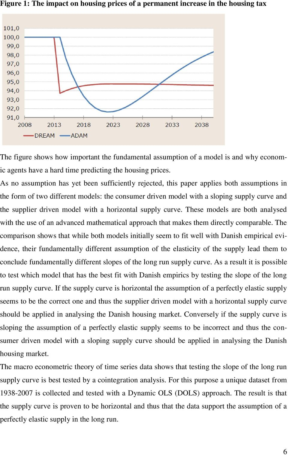 As no assumption has yet been sufficiently rejected, this paper applies both assumptions in the form of two different models: the consumer driven model with a sloping supply curve and the supplier