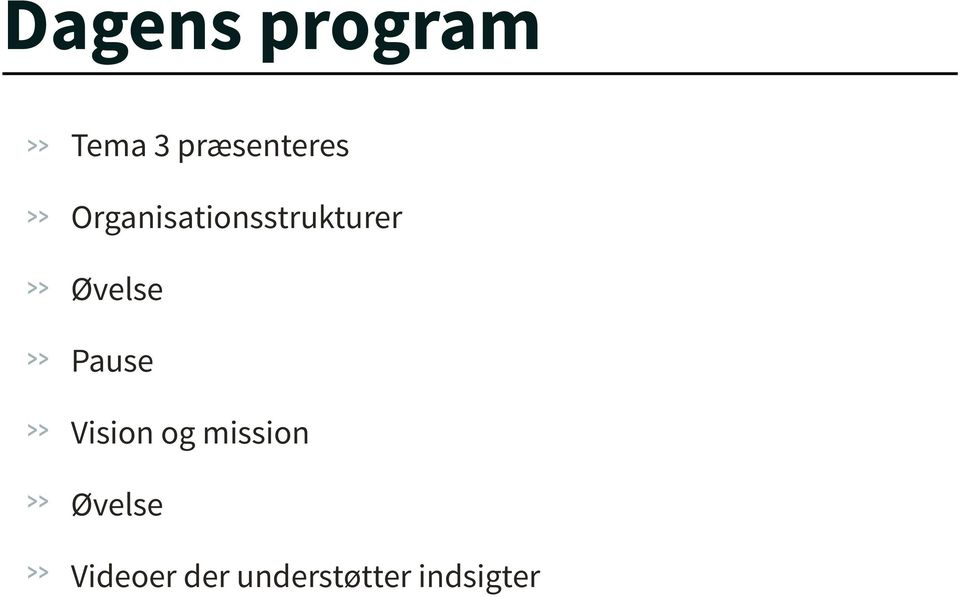 Organisationsstrukturer Øvelse
