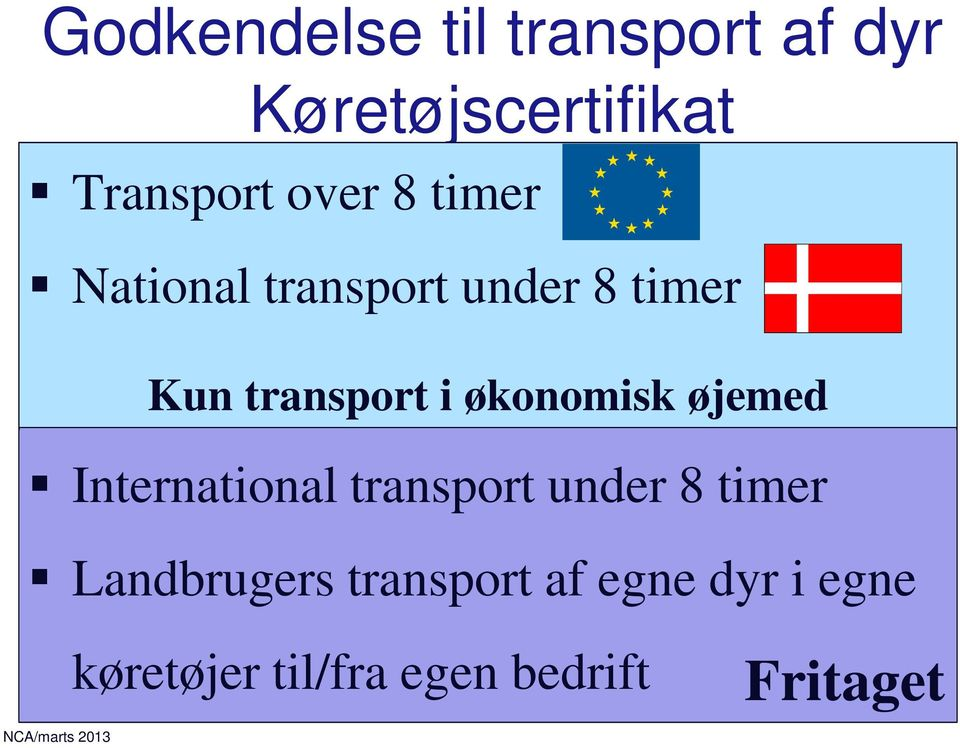 økonomisk øjemed International transport under 8 timer