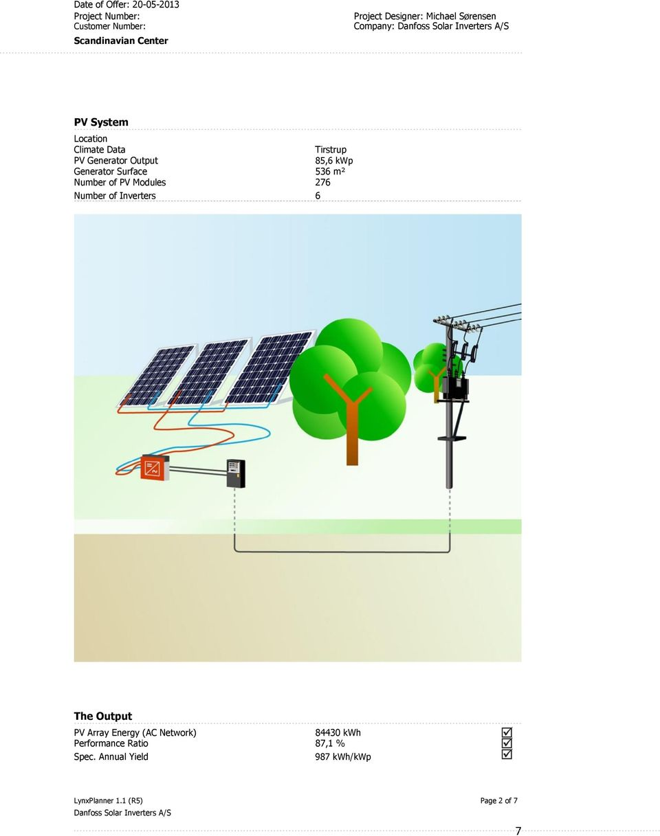 Generator Surface 536 m² Number of PV Modules 276 Number of Inverters 6 The Output PV Array Energy (AC Network)