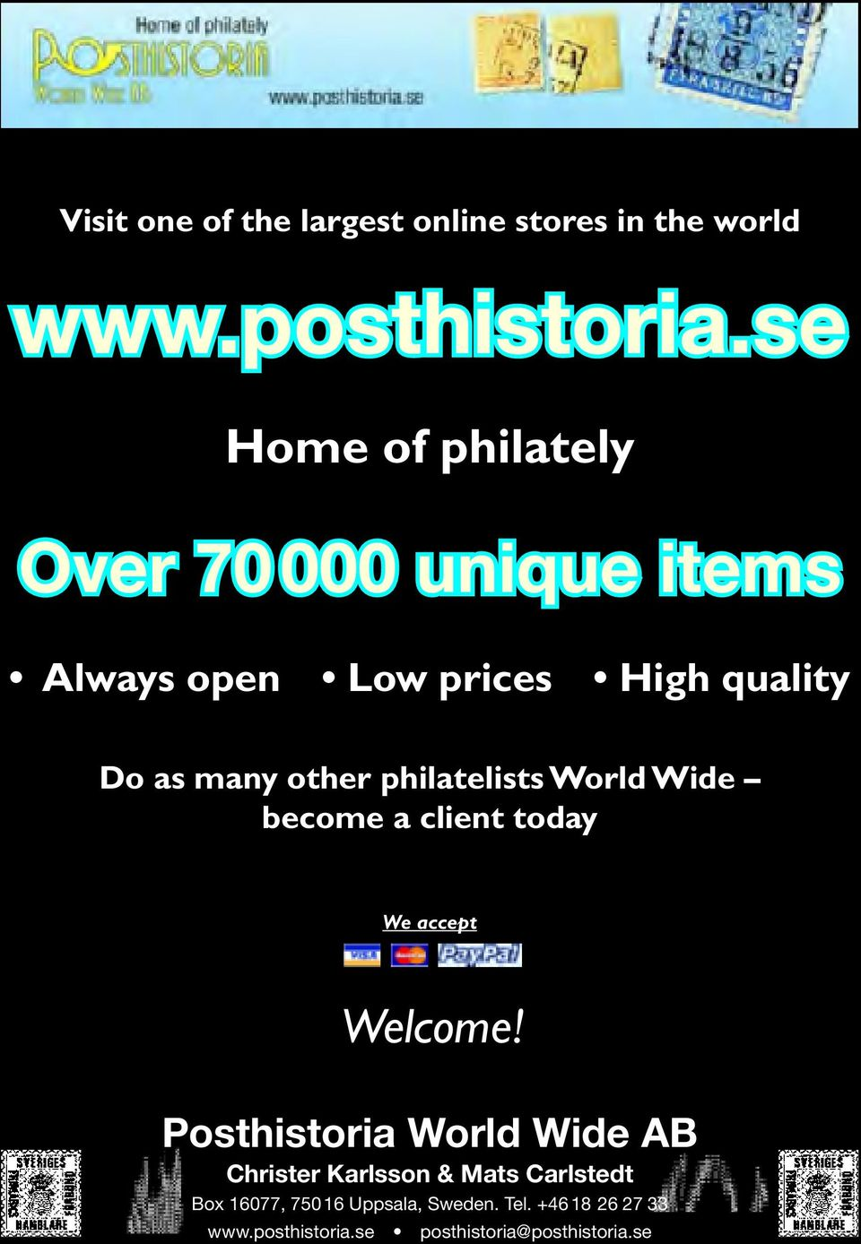 philatelists World Wide become a client today We accept Welcome!