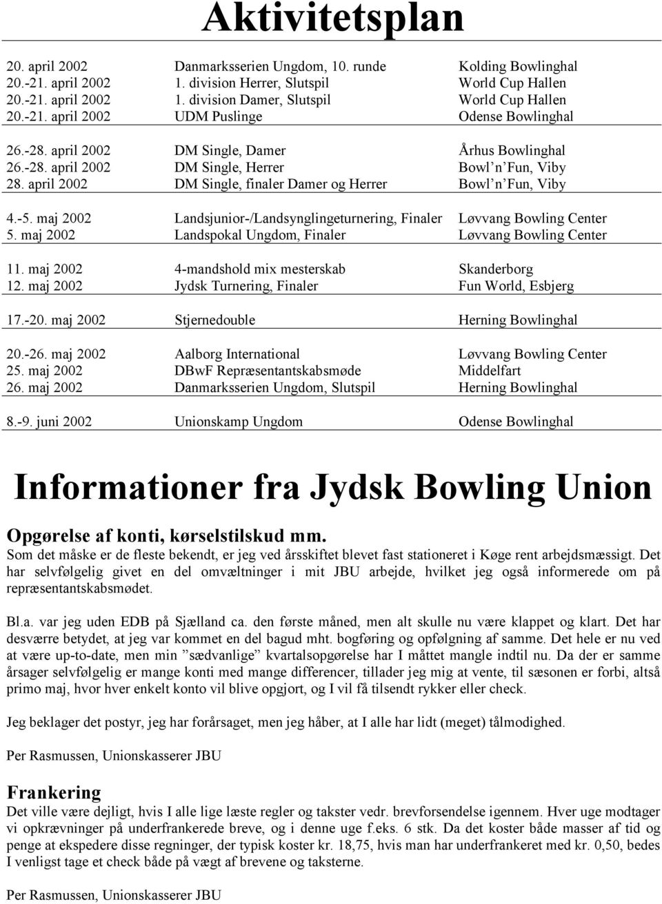 april 2002 DM Single, finaler Damer og Herrer Bowl n Fun, Viby 4.-5. maj 2002 Landsjunior-/Landsynglingeturnering, Finaler Løvvang Bowling Center 5.