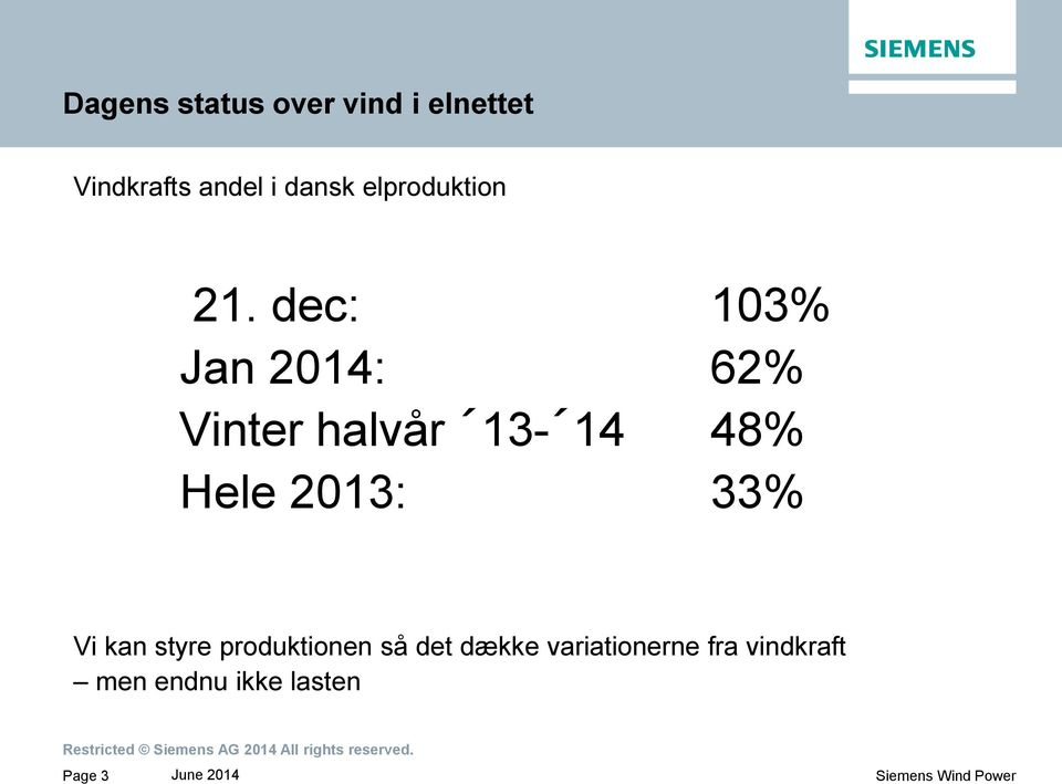 dec: 103% Jan 2014: 62% Vinter halvår 13-14 48% Hele 2013: