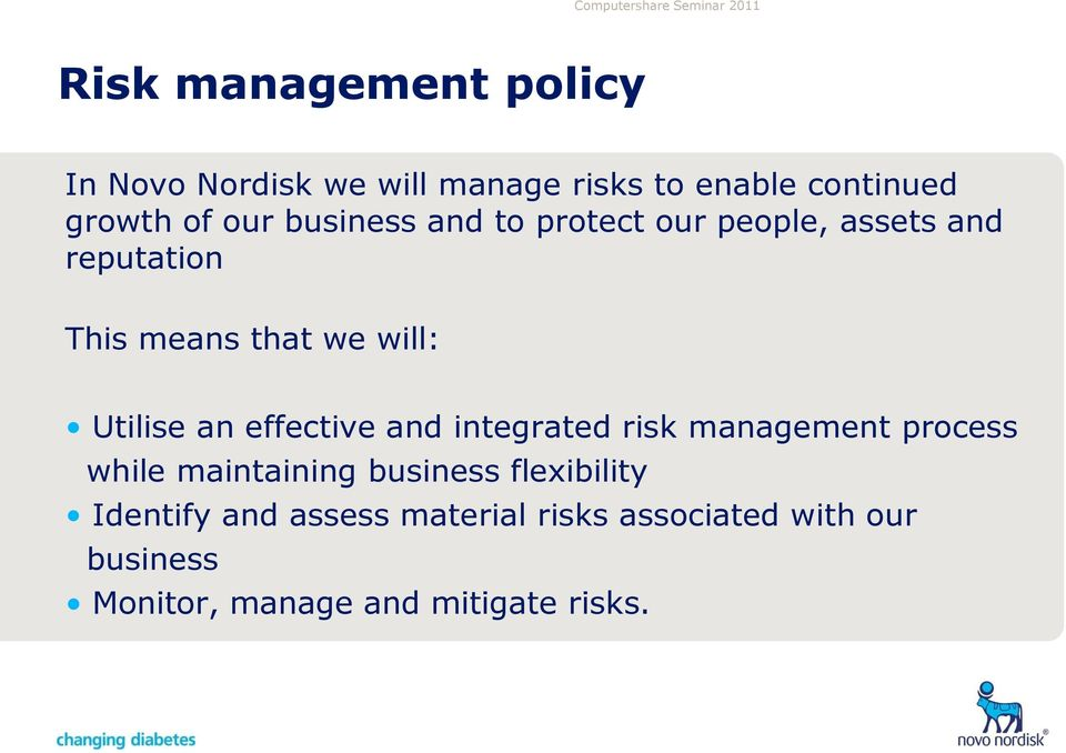 effective and integrated risk management process while maintaining business flexibility