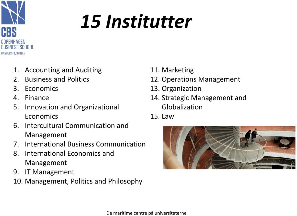International Business Communication 8. International Economics and Management 9. IT Management 10.