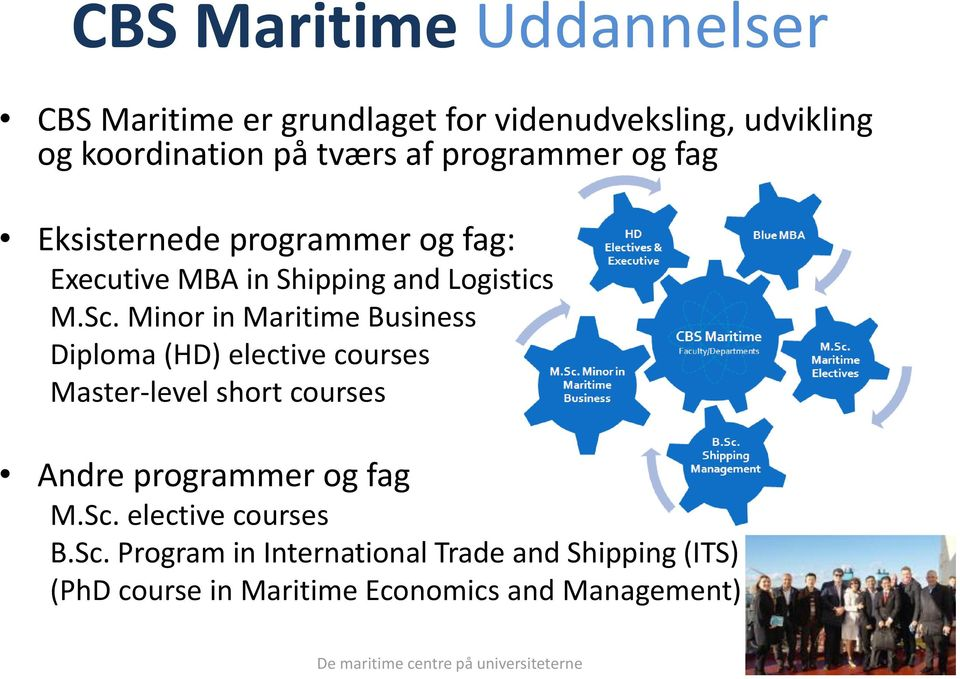 Minor in Maritime Business Diploma (HD) elective courses Master-level short courses Andre programmer og fag M.Sc.