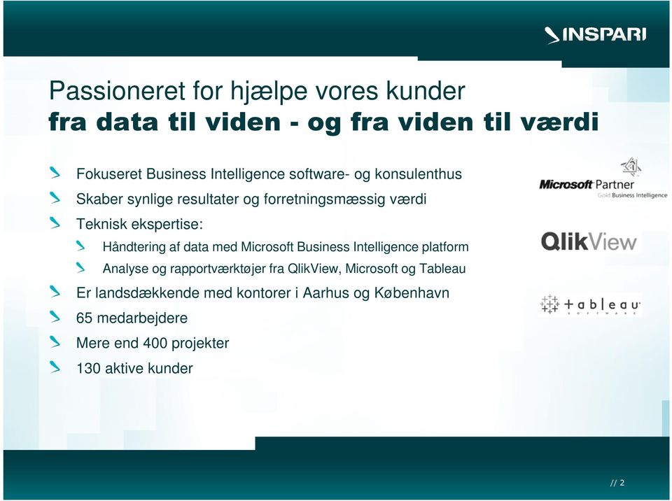 data med Microsoft Business Intelligence platform Analyse og rapportværktøjer fra QlikView, Microsoft og Tableau