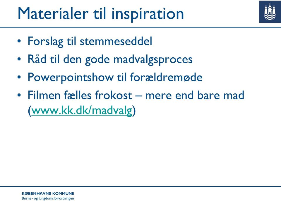 madvalgsproces Powerpointshow til
