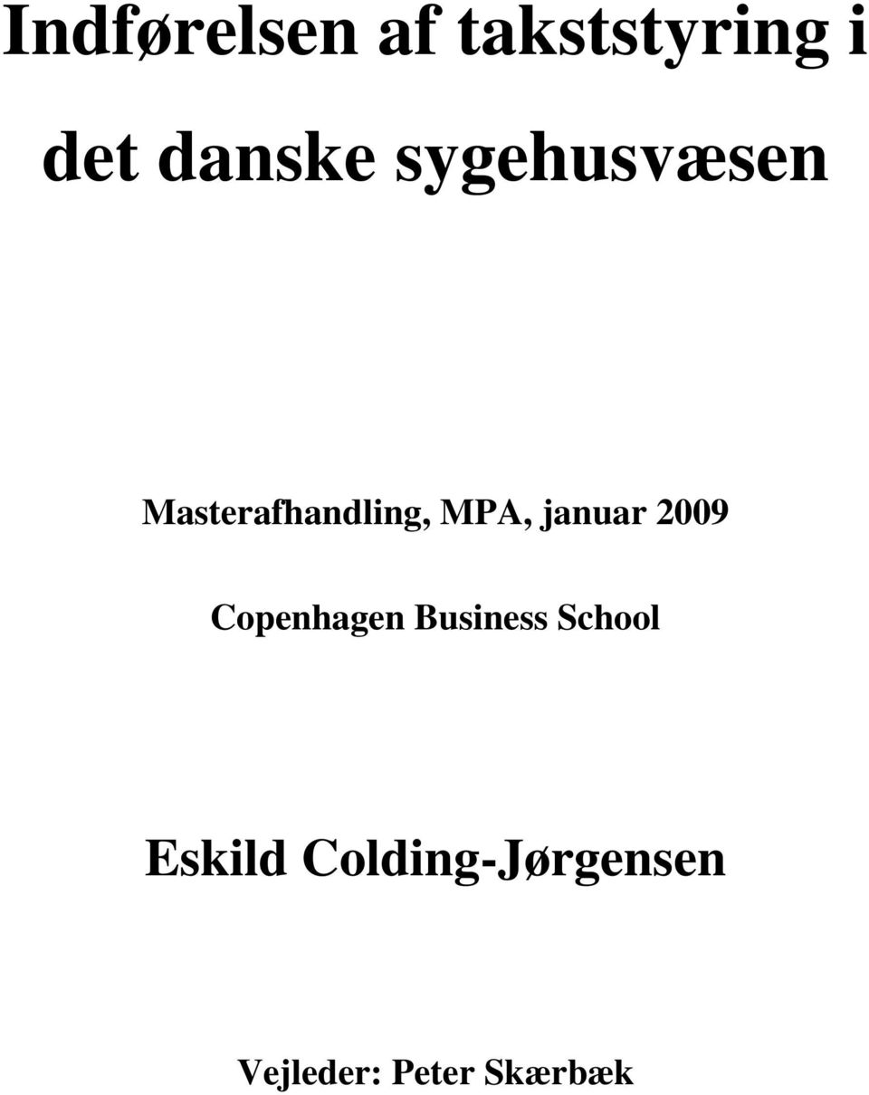 januar 2009 Copenhagen Business School