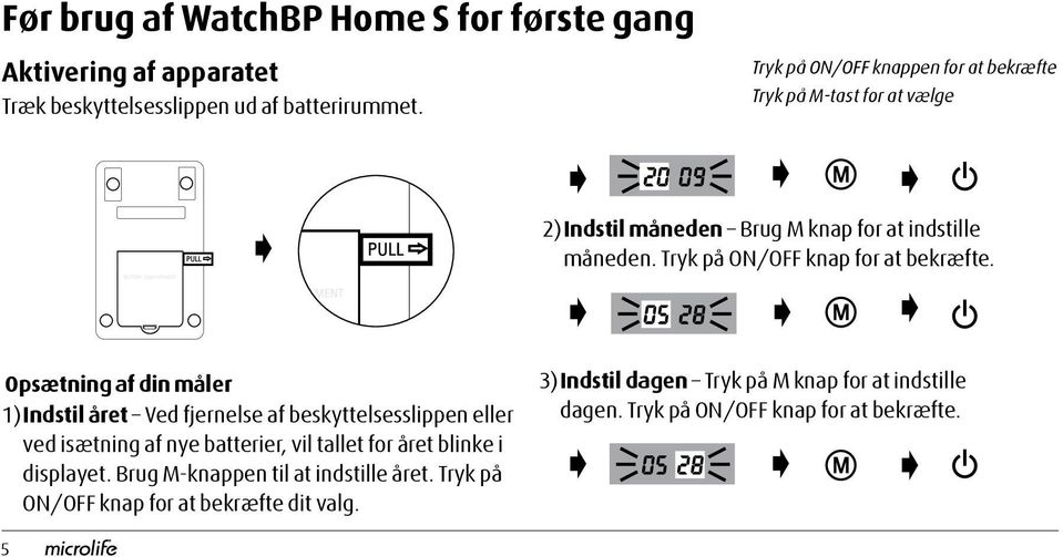 Tryk på ON/OFF knap for at bekræfte.