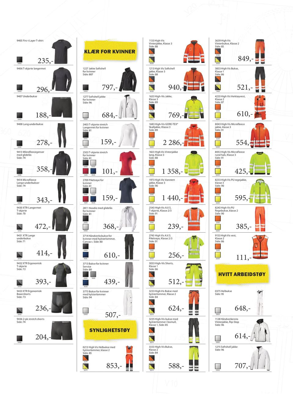 High-Vis Jakke, Klasse 3 Side: 89 4233 High Vis Verktøyvest, Klasse 2 Side: 87 188,- 684,- 769,- 610,- 9408 ang underbukse 2403 T-skjorte stretch angermet Side: 81 1683 High-Vis GOE-TEX Skalljakke,