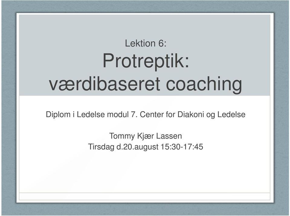 Center for Diakoni og Ledelse Tommy