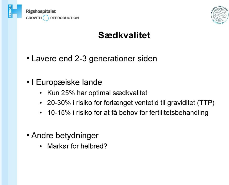 forlænget ventetid til graviditet (TTP) 10-15% i risiko for at