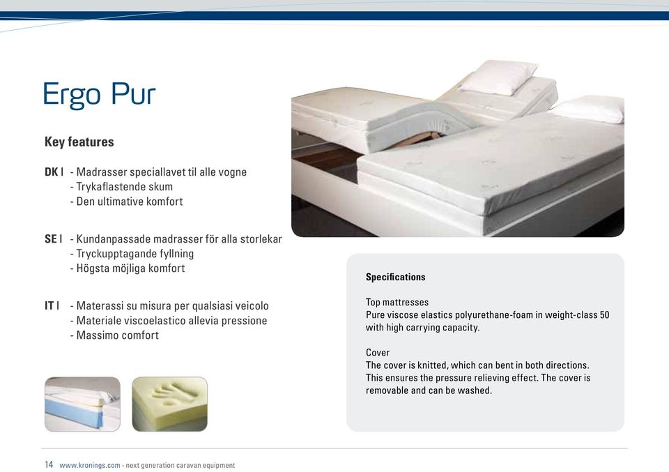 Massimo comfort Top mattresses Pure viscose elastics polyurethane-foam in weight-class 50 with high carrying capacity.