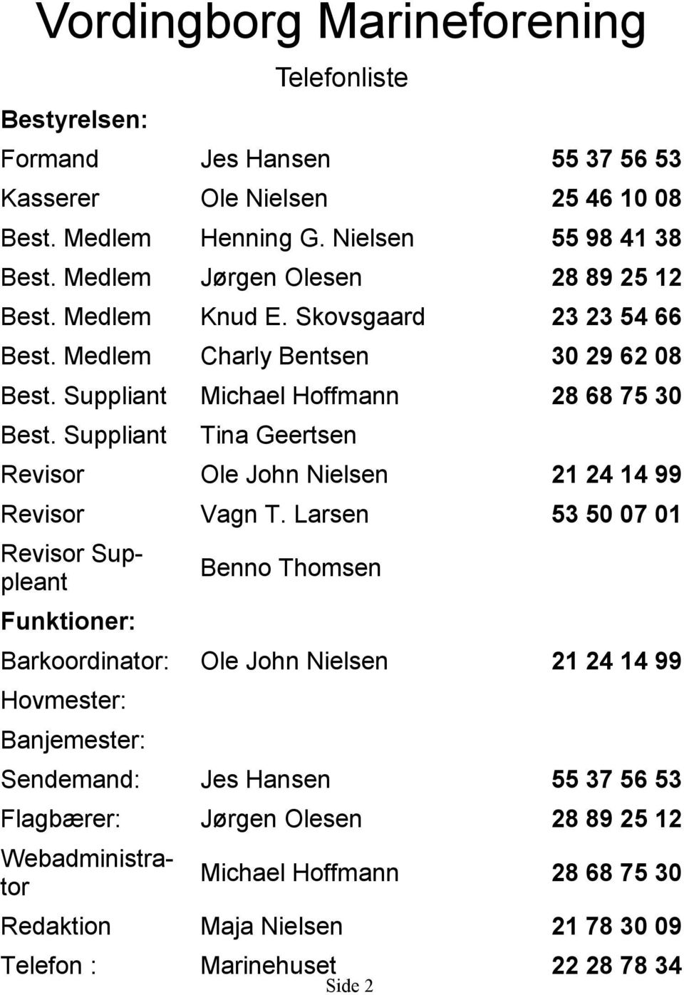 Suppliant Tina Geertsen Revisor Ole John Nielsen 21 24 14 99 Revisor Vagn T.