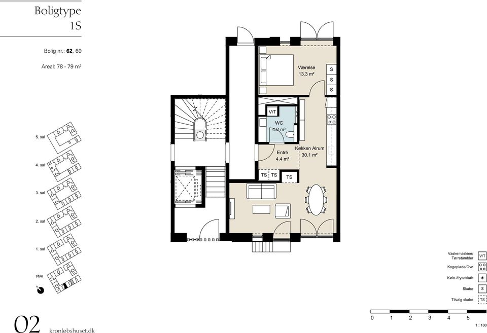 : 62, 69 Areal: 78-79 m 2 13.3 m² 4.