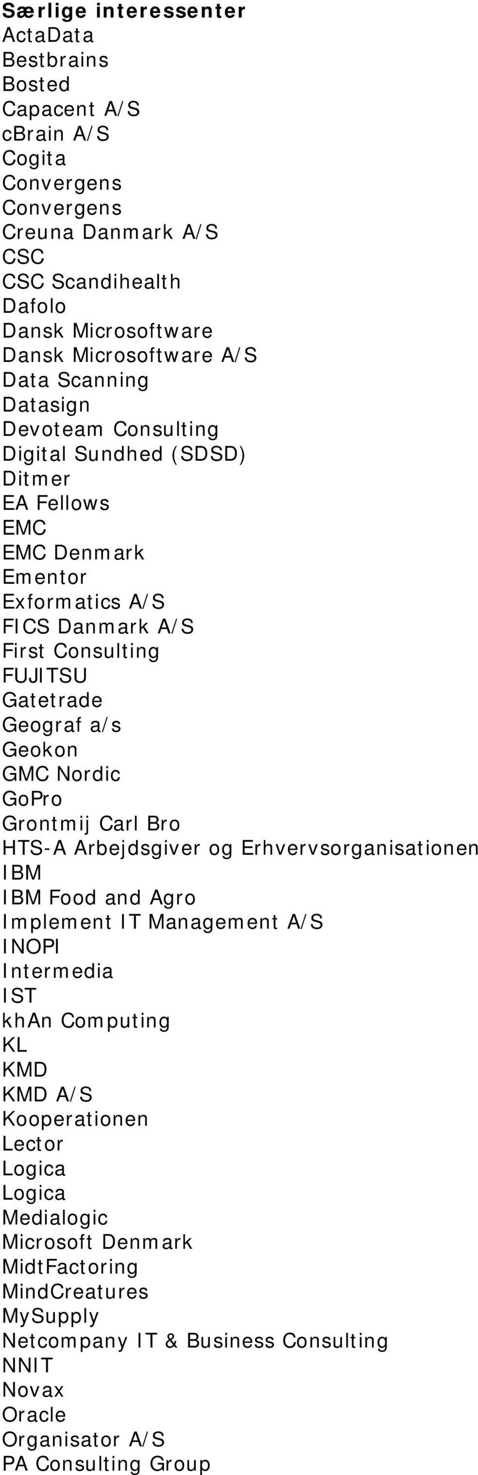 a/s Geokon GMC Nordic GoPro Grontmij Carl Bro HTS-A Arbejdsgiver og Erhvervsorganisationen IBM IBM Food and Agro Implement IT Management A/S INOPI Intermedia IST khan Computing KL KMD KMD