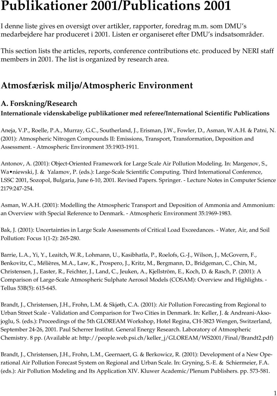 The list is organized by research area. Atmosfærisk miljø/atmospheric Environment A.