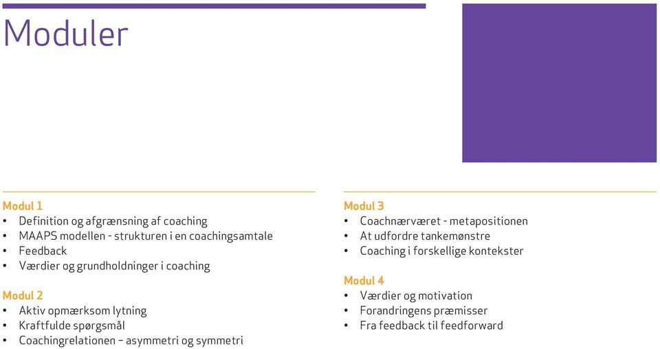 Coachingrelationen asymmetri og symmetri Modul 3 Coachnærværet - metapositionen At udfordre tankemønstre