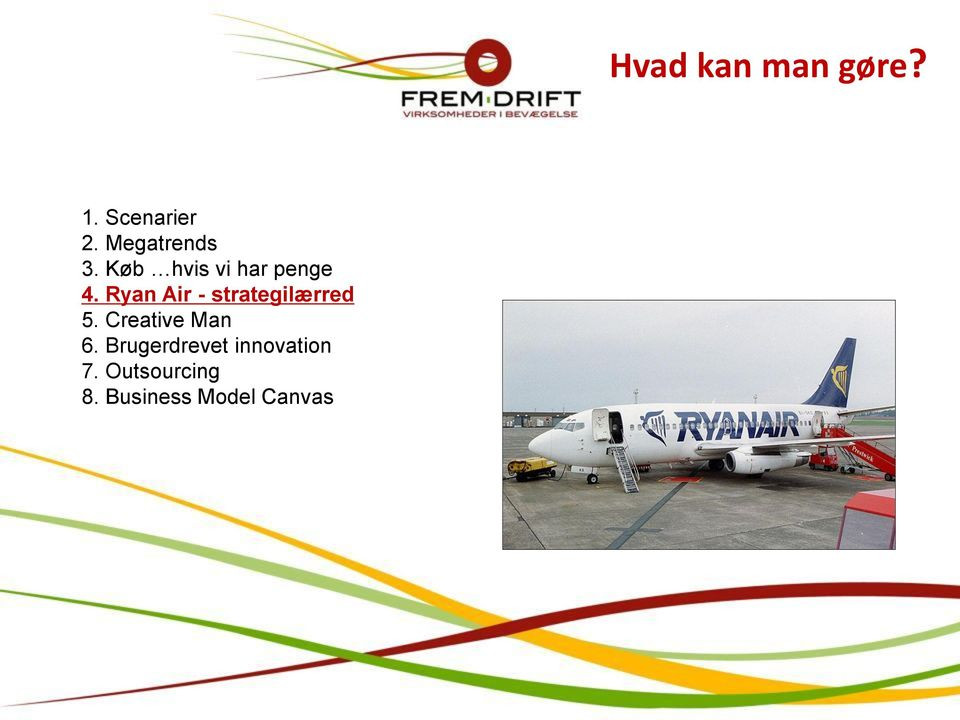 Ryan Air - strategilærred 5. Creative Man 6.