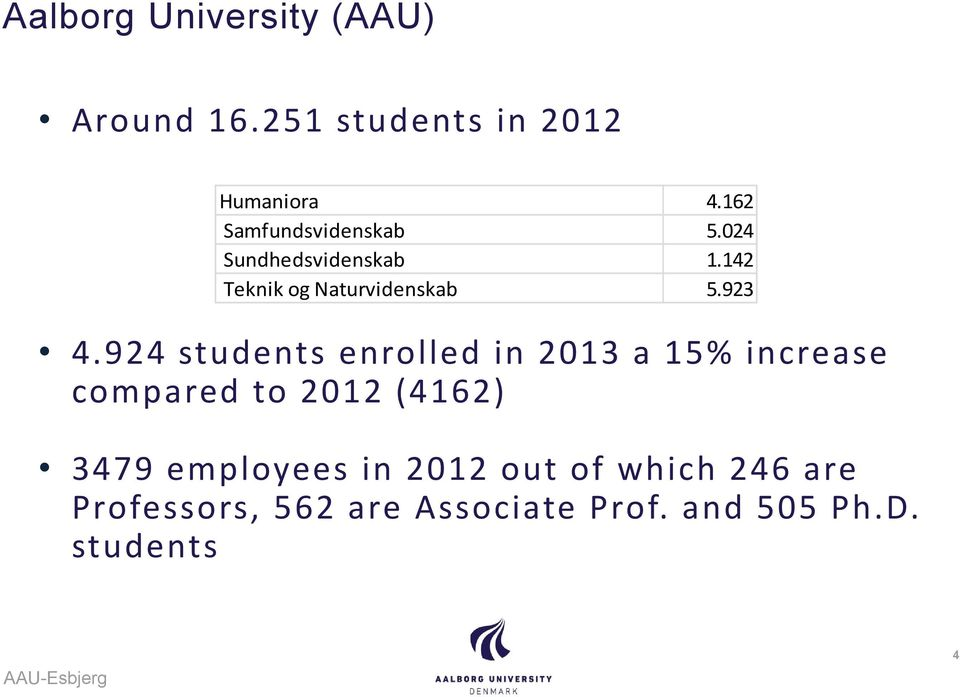 924 students enrolled in 2013 a 15% increase compared to 2012 (4162) 3479 employees