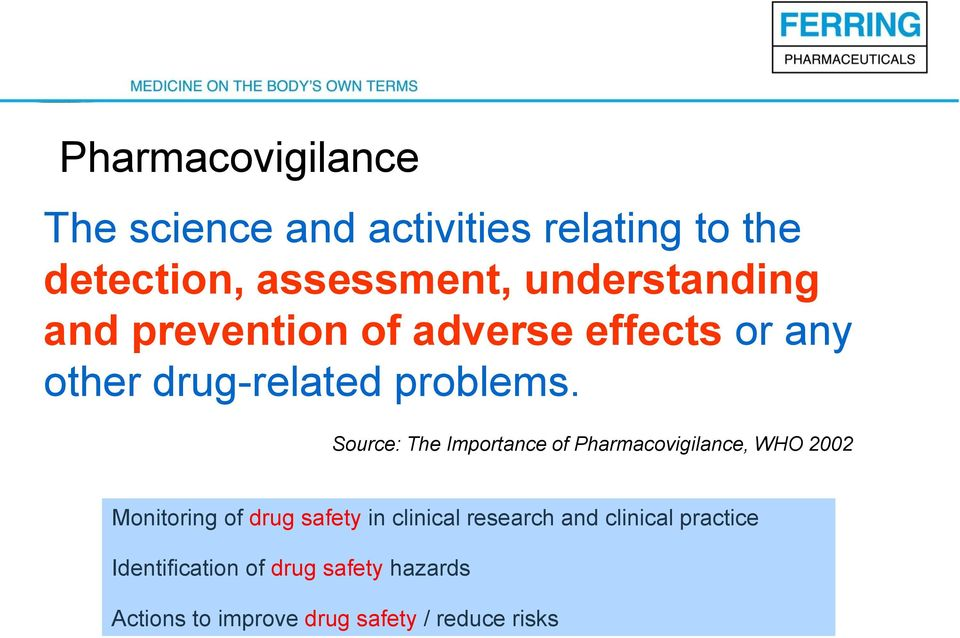 Source: The Importance of Pharmacovigilance, WHO 2002 Monitoring of drug safety in clinical