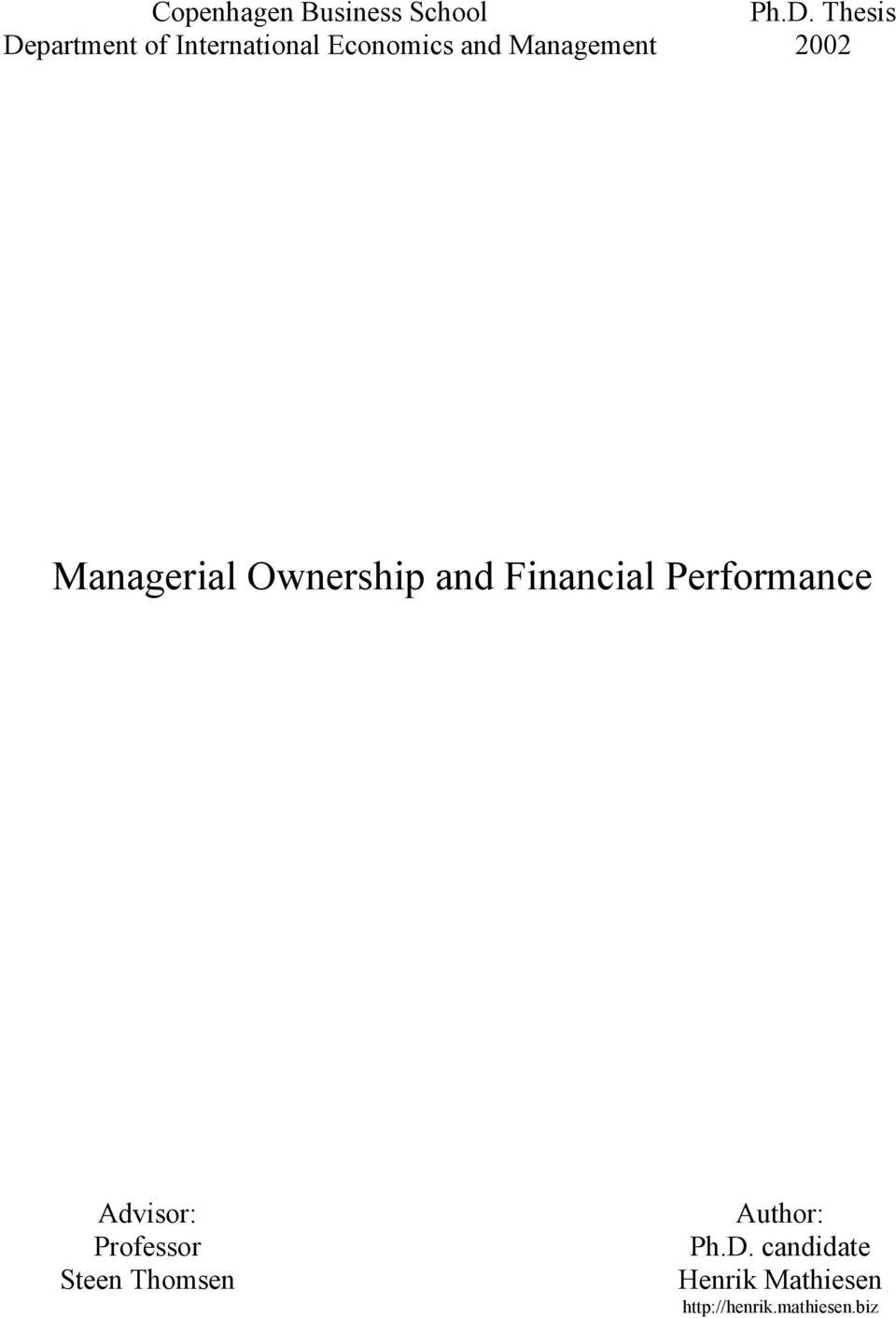 2002 Managerial Ownership and Financial Performance Advisor: