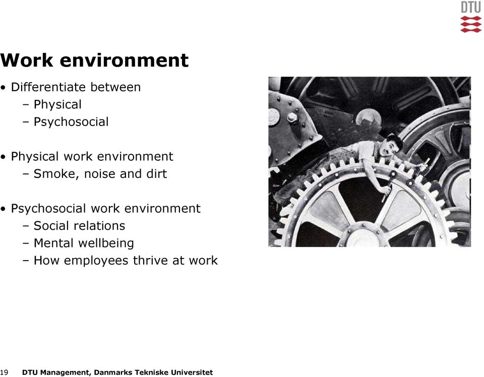 work environment Social relations Mental wellbeing How