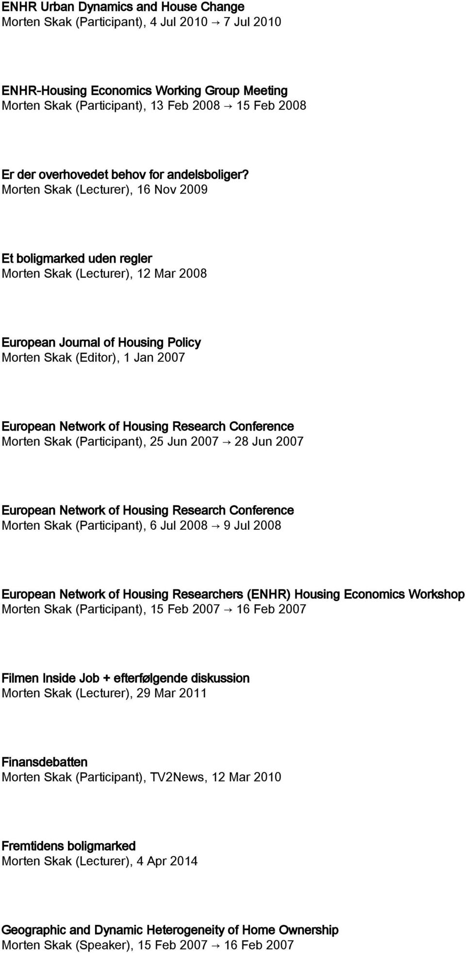 (Lecturer), 16 Nov 2009 Et boligmarked uden regler (Lecturer), 12 Mar 2008 European Journal of Housing Policy (Editor), 1 Jan 2007 European Network of Housing Research Conference (Participant), 25