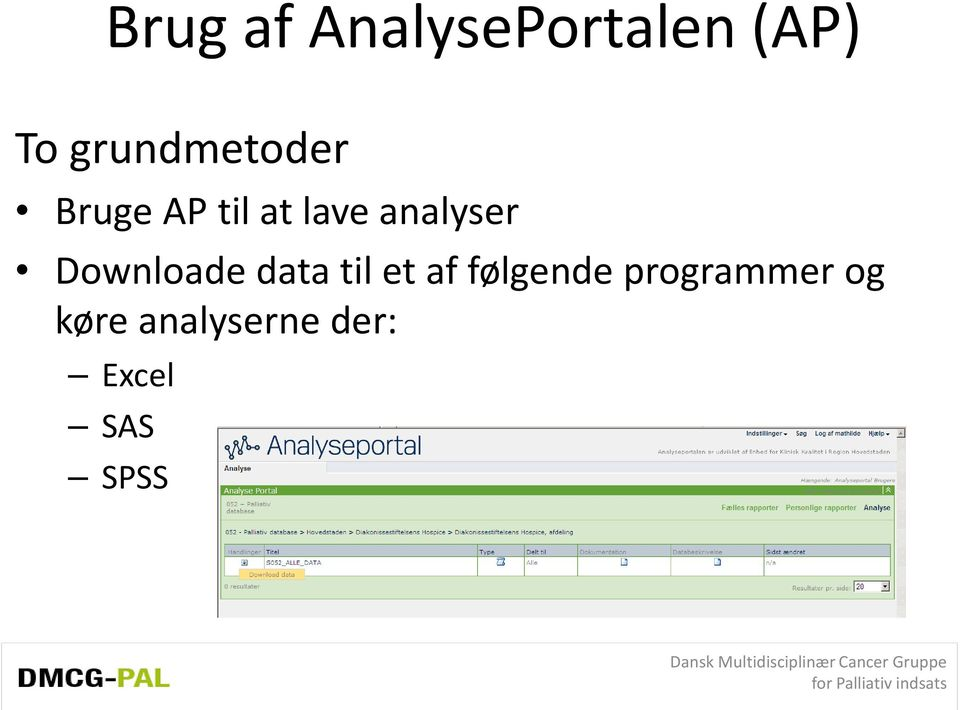 analyser Downloade data til et af