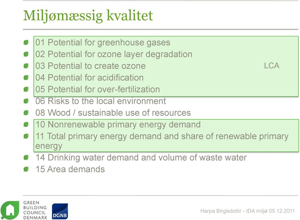 environment 08 Wood / sustainable use of resources 10 Nonrenewable primary energy demand 11 Total primary