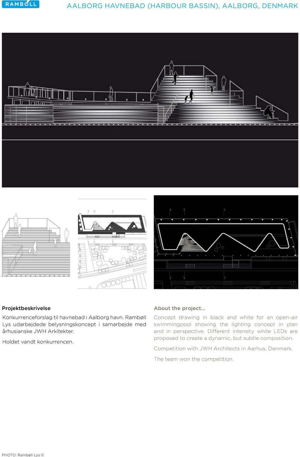 Concept drawing in black and white for an open-air swimmingpool showing the lighting concept in plan and in perspective.