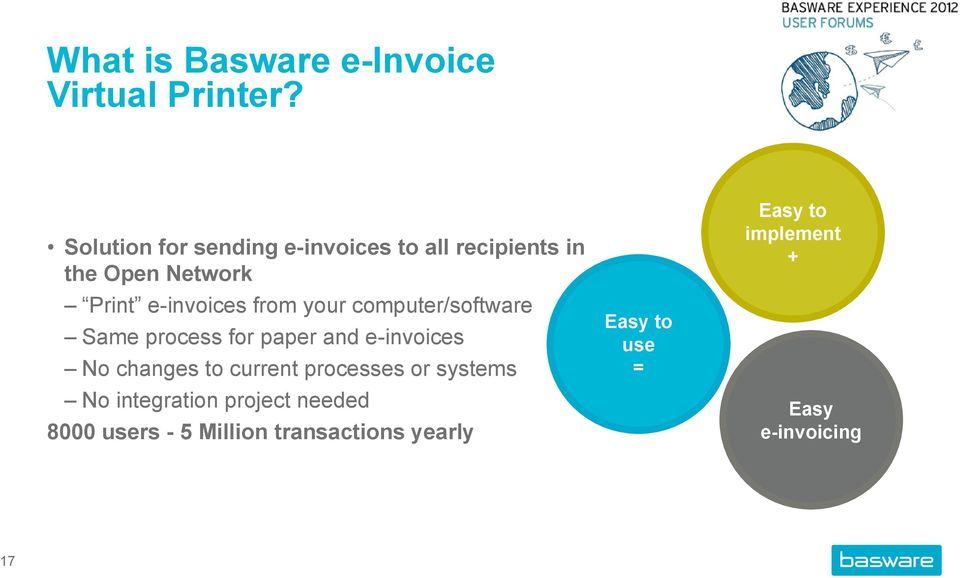your computer/software Same process for paper and e-invoices No changes to current