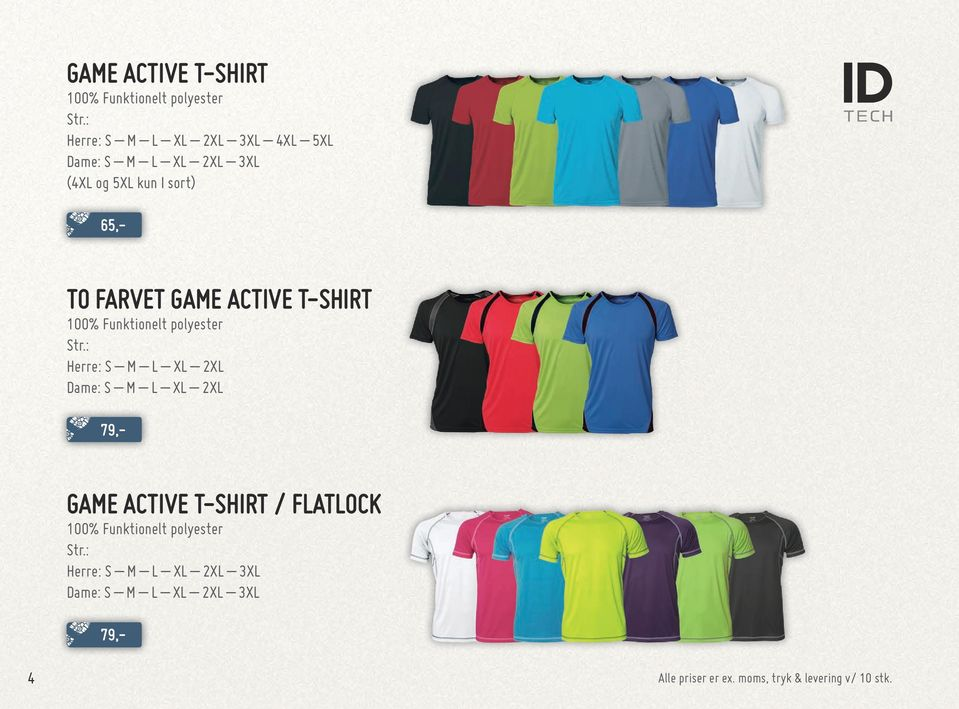 Funktionelt polyester Dame: S M L XL 2XL GAME ACTIVE T-SHIRT /