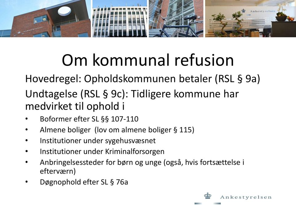 om almene boliger 115) Institutioner under sygehusvæsnet Institutioner under