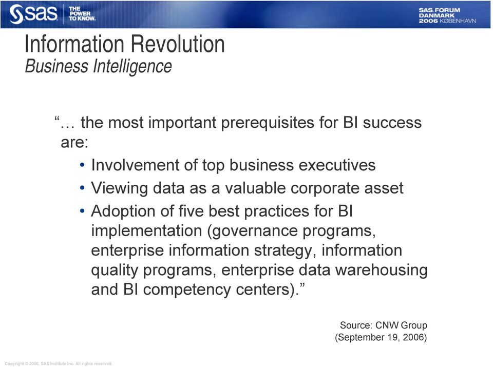 practices for BI implementation (governance programs, enterprise information strategy, information