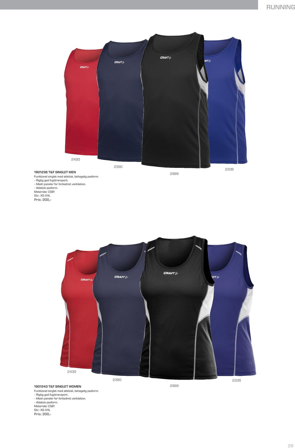 Materiale: C581 1901243 T&F SINGLET WOMEN Funktionel singlet med atletisk,