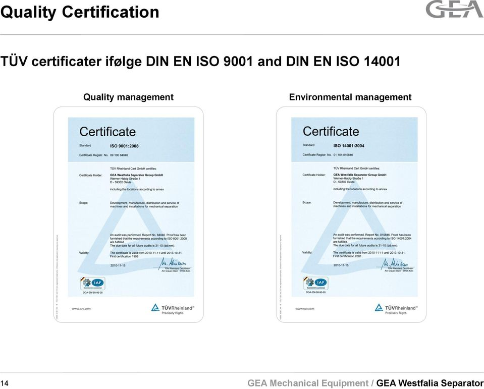 9001 and DIN EN ISO 14001
