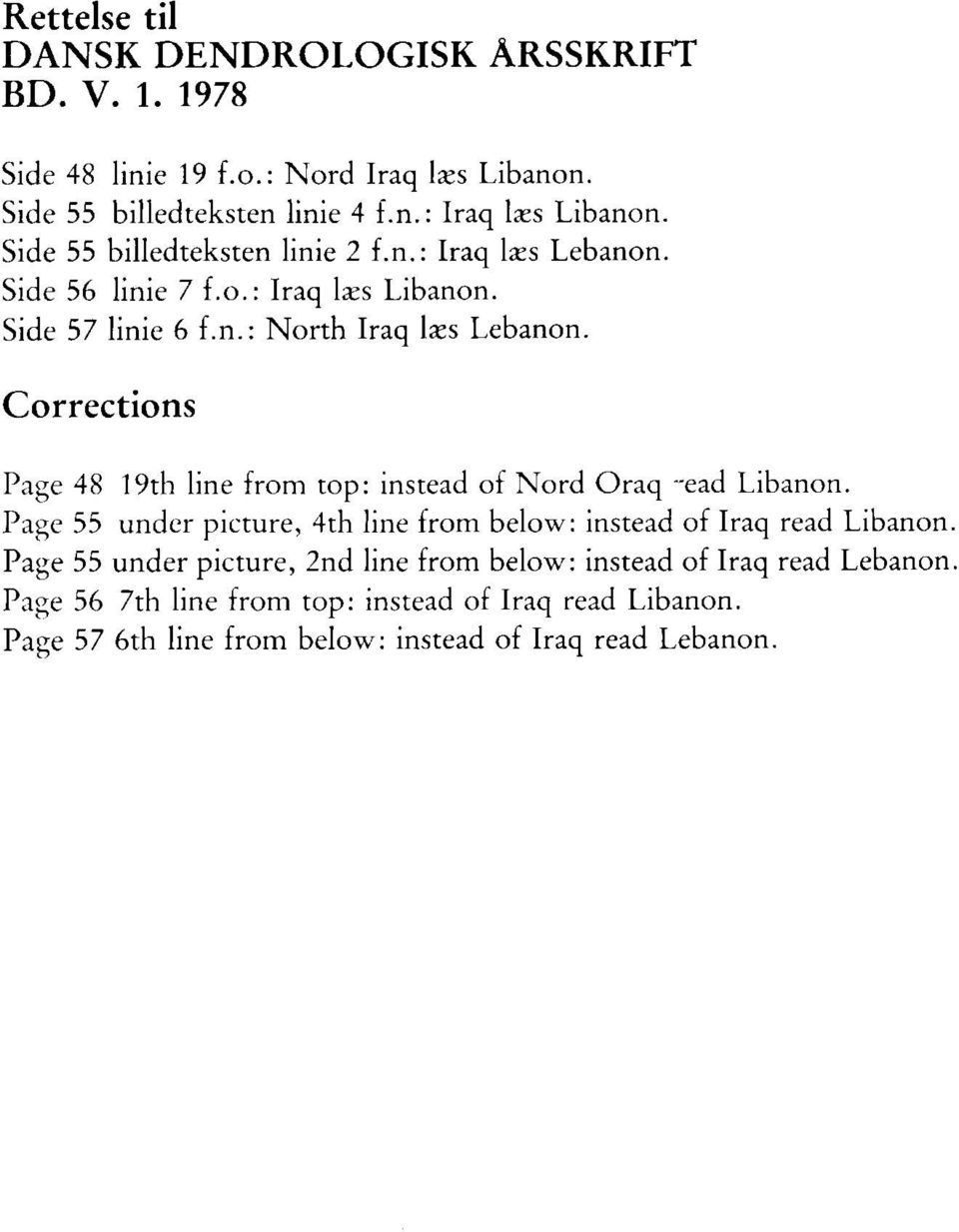 Corrections Page 48 19th line from top: instead of Nord Oraq ~ead Libanon. Page 55 under picture, 4th line from below: instead of Iraq read Libanon.
