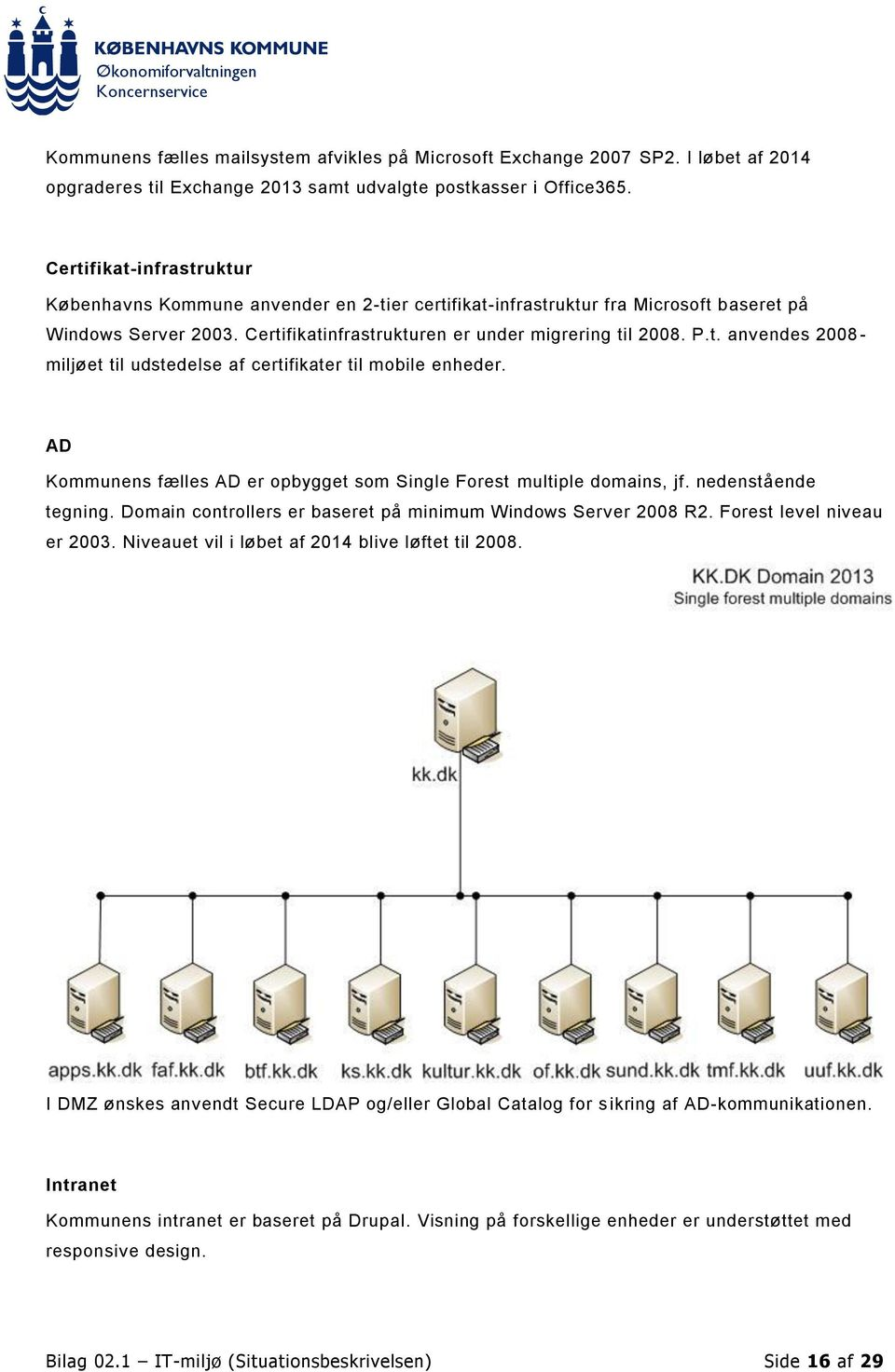 AD Kommunens fælles AD er opbygget som Single Forest multiple domains, jf. nedenstående tegning. Domain controllers er baseret på minimum Windows Server 2008 R2. Forest level niveau er 2003.