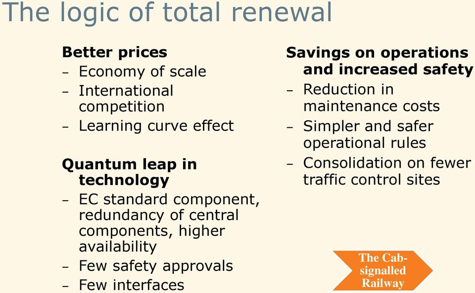 Few safety approvals Few interfaces Savings on operations and increased safety Reduction in maintenance