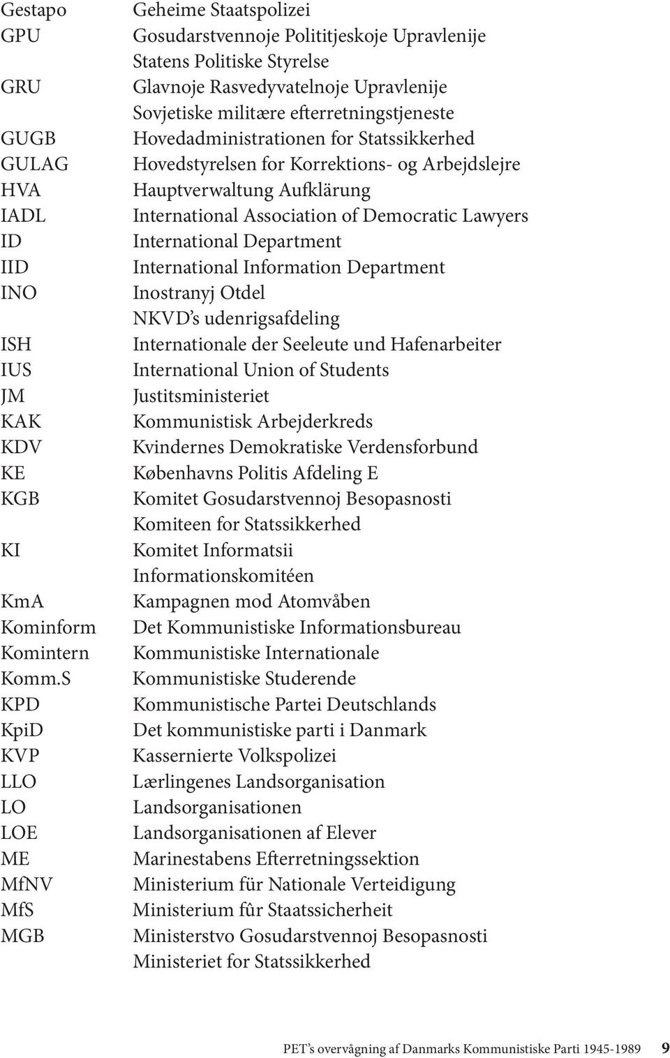 efterretningstjeneste Hovedadministrationen for Statssikkerhed Hovedstyrelsen for Korrektions- og Arbejdslejre Hauptverwaltung Aufklärung International Association of Democratic Lawyers International