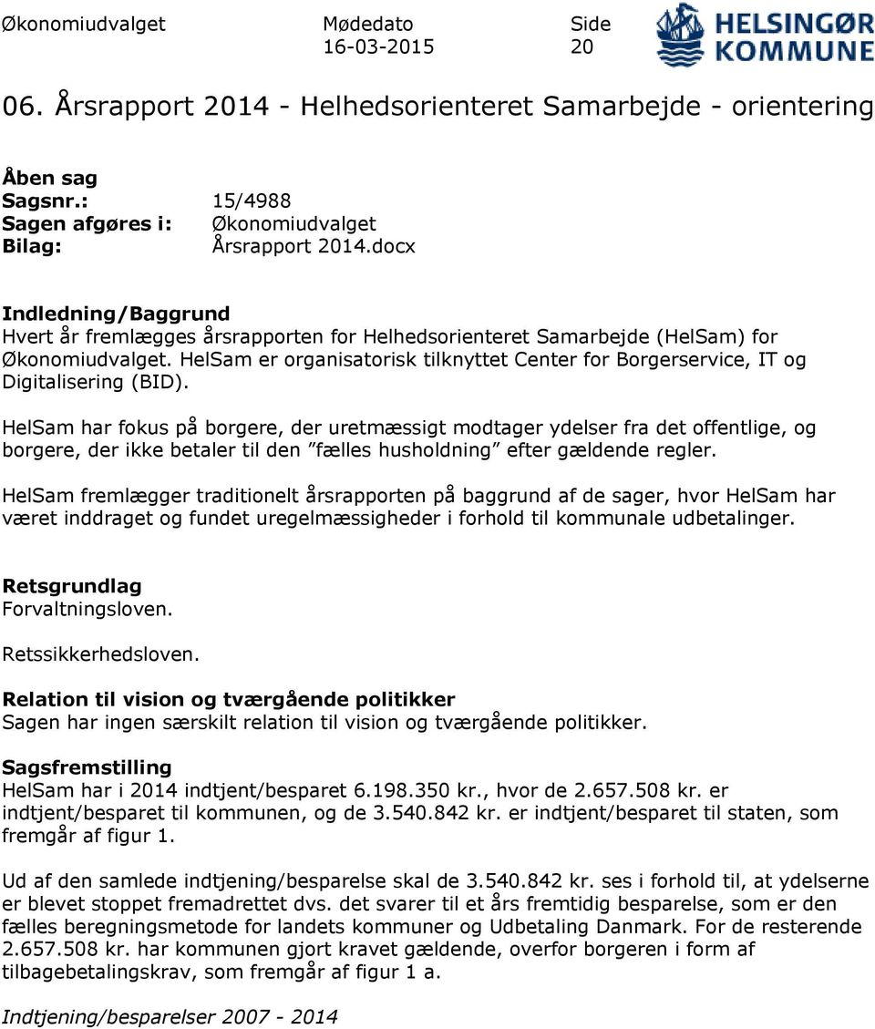 HelSam er organisatorisk tilknyttet Center for Borgerservice, IT og Digitalisering (BID).